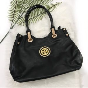 Tory Burch Satchel Style Black & Gold Sleek Purse